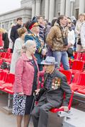 Russian veteran on celebration at the parade on annual Victory Day - stock photo