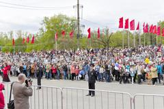 Procession of the people in Immortal Regiment on annual Victory Day Stock Photos
