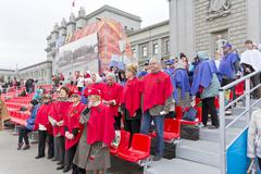 Volunteers on celebration  in honor of the annual Victory Day Stock Photos