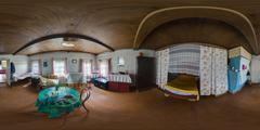 Old wooden house interior spherical panorama Stock Photos