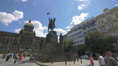 Tourists visiting St. Wenceslas Monument in Prague Stock Footage