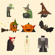 Halloween Characters in Flat Style Vector Illustration - stock illustration