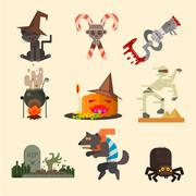 Halloween Attributes, Characters Set in Flat Style, Vector Illustration - stock illustration