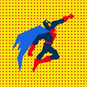 Landed Superman Vector Illustration - stock illustration