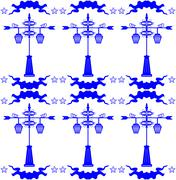 Seamless pattern with streetlight in Dutch tile style blue - stock illustration