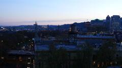 City of Portland, Oregon, USA aerial video at night: 4K Ultra HD Stock Footage