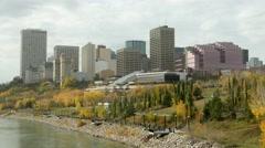 Edmonton Skyline and Louise McKinney Riverfront Park Stock Footage
