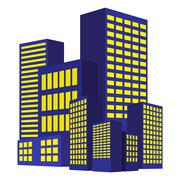 Stock Illustration of Image of modern building, Urban cityscape, City Lights, metropolis. Vector il