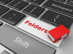 3d Folder on the computer keyboard. - stock illustration