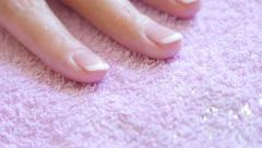 Nails French  manicure  finished hand   in salon 4K 2160p 30fps UltraHD foota Stock Footage