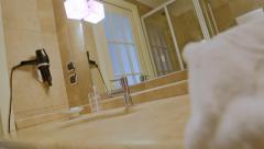 Revealing Luxury Hotel Bathroom - 25FPS PAL Stock Footage