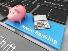 3d Piggy bank with Calculator on the computer keyboard - stock illustration