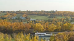 Edmonton Queen Riverboat and Muttart Conservatory in fall. - stock footage