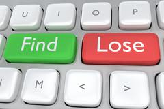 Find/Lose concept Stock Illustration