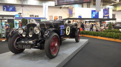 Classic cars exhibition at motorshow fair - stock footage