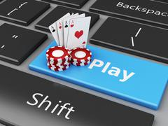 3d Chips and cards on the computer keyboard Stock Illustration