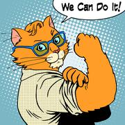 Cat success we can do it Stock Illustration