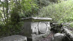 Side view of a pirate grave at Church Ope Cove, Isle of Portland, UK Stock Footage