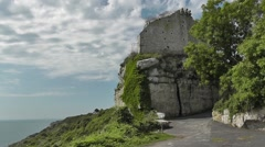 View of Rufus castle at Church Ope Cove, Isle of Portland, UK Stock Footage
