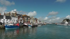 View of the old harbour in Weymouth, England, UK - stock footage