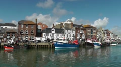 Old harbour in Weymouth, England, UK - stock footage