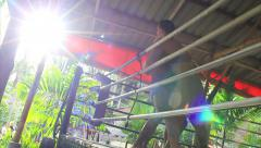 Muay Thai Boxing Clinch Training In Gym Ring Tropical Slow Motion Lens Flare Stock Footage