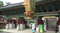 Gate To The Jogyesa Buddhist Temple Stream Of Paper Fish For Festival Stock Footage