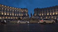 Piazza Delle Repubblica Rome Square Symbol Tourist Dusk Lights Fontana Statue Stock Footage