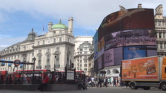 Tourist Square Subway Red Buses Piccadilly Circus London Center United Kingdom Stock Footage