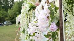 Wedding Flower Arch Decoration Stock Footage