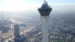 Las Vegas, Nevada, USA - November 26, 2014: Daytime aerial view of Stratosphere - stock footage