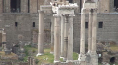 Stock Video Footage of  Rome Museum Foro Romano Ancient Remains Tourist Visit Temple Columns History