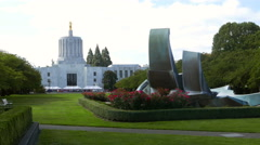 Oregon State Capitol Grounds Stock Footage