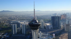 Las Vegas, Nevada, USA - November 26, 2014: Daytime aerial view of Stratosphere Stock Footage