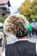 backside of a man in traditional bavarian clothes - stock photo