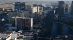 Las Vegas, Nevada, USA - November 26, 2014: Aerial view of Las Vegas Strip Stock Footage