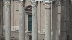 Temple Columns Ancient Remains Archeological Sightseeing Rome Histroy Museum Stock Footage
