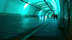 Traffic at night in a tunnel Stock Footage