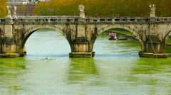 Panoramic view of river Tiber - stock footage