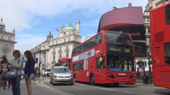 Piccadilly Circus Square Display Panel Subway Double Deck Red Buses London UK Stock Footage