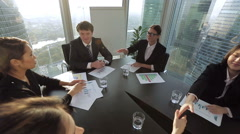 young business partners greet each other before meeting - stock footage