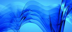 Blue dynamic and luminous waves - stock illustration