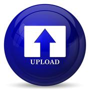 Upload icon. Internet button on white background.. - stock illustration