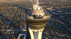 Las Vegas, Nevada, USA - November 26, 2014: Aerial view of Stratosphere Stock Footage