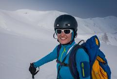 Skiing, winter fun, ski billboard - lovely skier girl enjoying the snow Kuvituskuvat