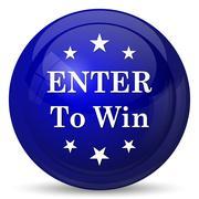 Enter to win icon. Internet button on white background.. - stock illustration
