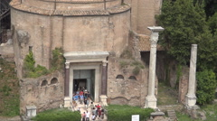 Tourists Visiting Ancient Remains Temple Columns Rome Italy Museum Archaeology - stock footage
