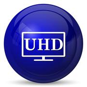 Ultra HD icon. Internet button on white background.. - stock illustration