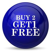 Stock Illustration of Buy 2 get 1 free offer icon. Internet button on white background..