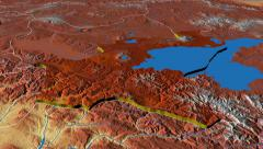Bitlis - Turkey region extruded. Bumps shaded Stock Footage